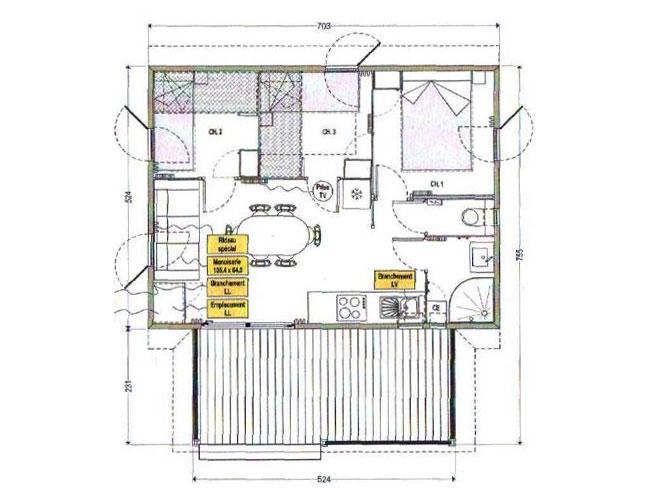 Plan chalet paradis 3 chambres (Camping de La Besse)