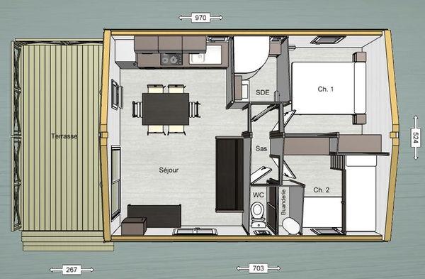 Plan du chalet Paradis 2 chambres (Camping de La Besse)