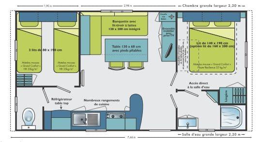 Plan du Mobil-home 2 chambres (Camping de La Besse)