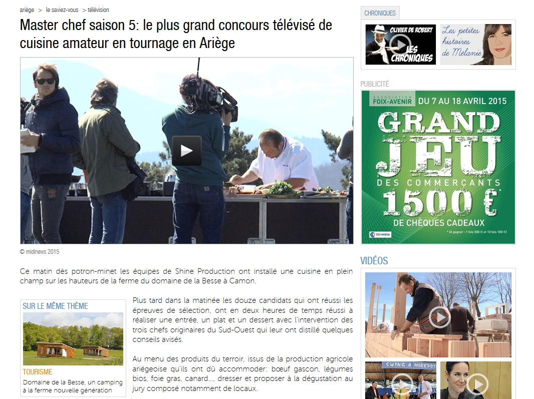 Master chef 2015 au Domaine de la Besse (Ariège News)